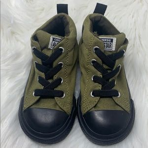 Converse Olive Green Infant Mid Top Sneakers, sz 8
